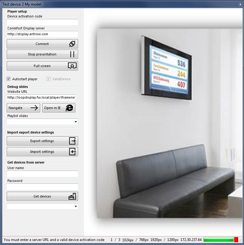 Screenshot of the new version of our Comfort Display windows player